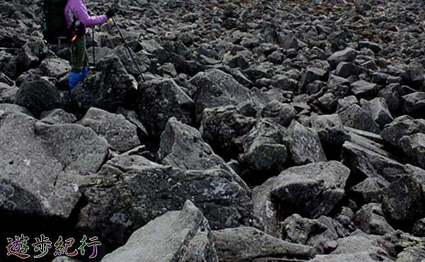 丸木橋やゴロゴロと大岩や石が散乱する平坦な河原では、途中で立ち止まってはいけない