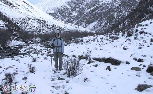 雪渓を歩く